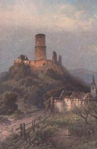 Die Godesburg Germany Antique Oilette Oil Painting Postcard