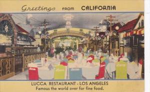 California Los Angeles Greetings Lucca Restaurant 1941