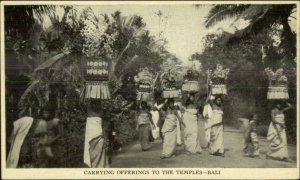 Bali Indonesia Natives Carrying Offerings to Temples c1915 Postcard