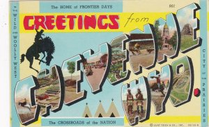 Wyoming Greetings From Cheyenne Large Letter Linen sk4824