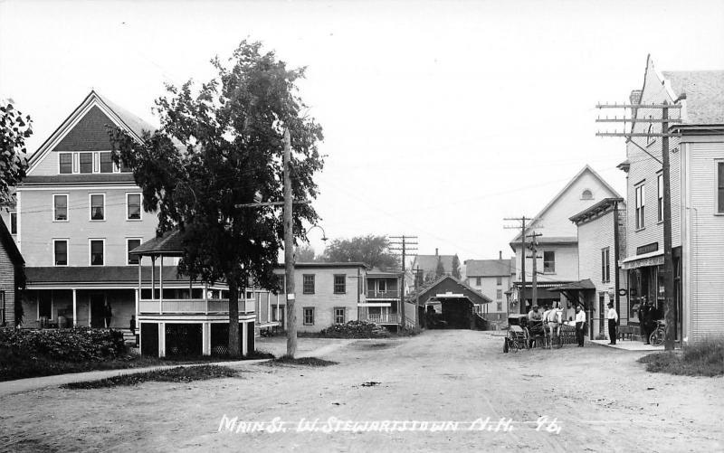 West Stewartstown NH~Main Street Drug Store~Soda~Covered Bridge~c1915 RPPC