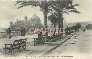 Old Postcard Nice La Jetee Promenade between Palms