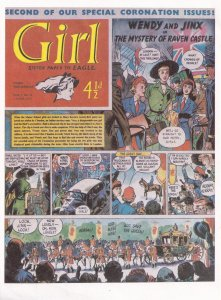 The Eagle Sister Paper For Girls Wendy & Jinx Antique Comic Rare Postcard
