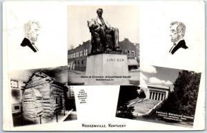 Hodgenville, Kentucky RPPC Photo Postcard Lincoln Log Cabin & Memorial c1940s