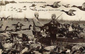 1909 RPPC A Good Day for Ducks in Iowa Exaggeration Unused AZO Man Cave Postcard