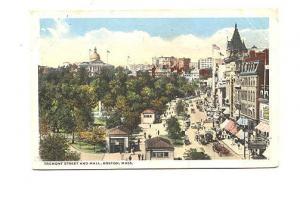 Tremont Street and Mall, Boston, Massachusetts, Used 1916 Cambridge Flag Cancel