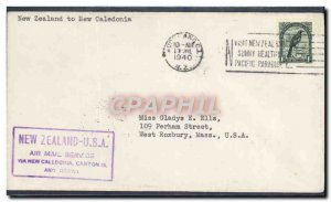 Letter 1st flight to New Caledonia New Zealand July 19, 1940