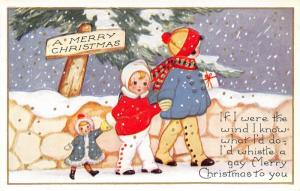 Christmas~ART DECO~Girls & Doll Walk in Snow~High Button Shoes~Emboss~Whitney