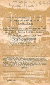 Washington Rainier National Park Greetings Private Mail Antique Postcard J66373