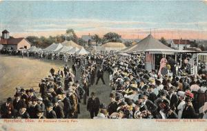 F36/ Mansfield Ohio Postcard c1910 Richland County Fair Grounds Crowd