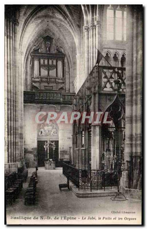 Old Postcard Basilica of Our Lady of the Thorn I jube the well and organs
