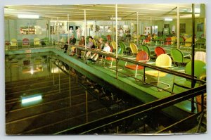 Lewisville TX~Fishing Barge Interior~Fishermen in Chairs~Bait Window~Cafe~1970