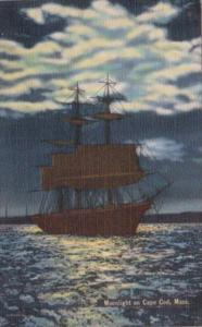 Massachusetts Cape Cod Sailing Ship By Moonlight