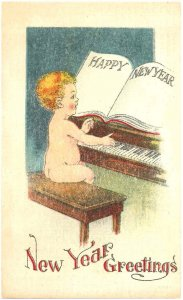 Vintage Happy New Year Greeting Piano Baby Postcard