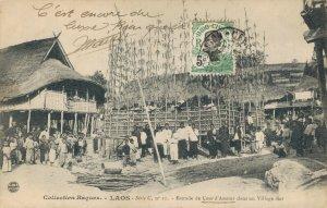 Laos Indochine Estrade de Cour d'Amour dans un Village thai 03.77