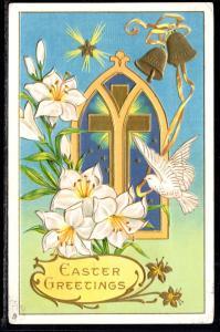 Easter Greetings Cross Lilies