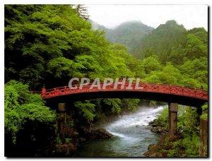 Postcard Modern Divine Bridge of Nikko Shrine Futarasan over Daiya River