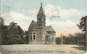 View of the entrance and chapel of the historic Lexington cemetery,  1900s