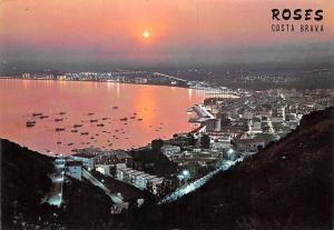 Spain Roses Costa Brava, Beautiful Sunset Boats General view Panorama
