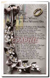 Postcard Old Jewelry Ring Bells Flowers