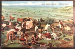 Mint USA PPC Picture Postcard Native American Arapahoe Indian Making Meat