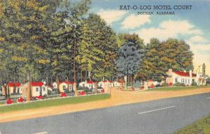 Dothan Alabama Kot O Log Motel Court Street View Antique Postcard K21195