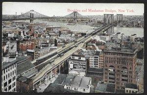 Brooklyn & Manhattan Bridges New York New York Used c1914