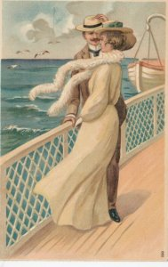 Man and Woman talking on deck of a boat, 1900-10s