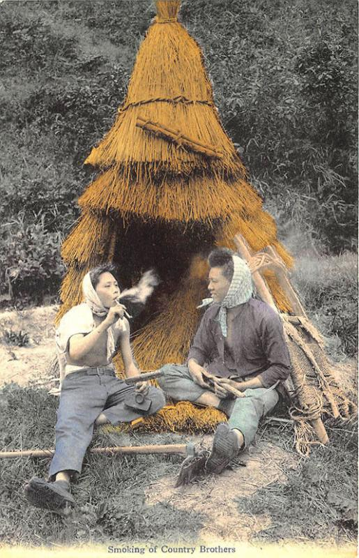 Early Japanese Smoking of Country Brothers Postcard