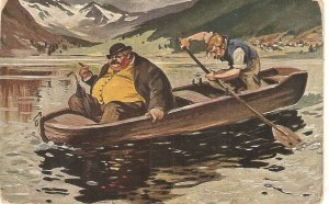 Fat man carried on a boat Humorous vintage German postcard