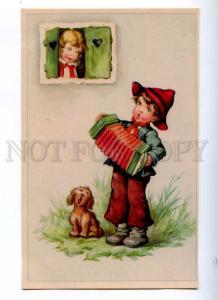 188009 Rural Boy w/ BAYAN & Singing Dog Vintage Colorful PC
