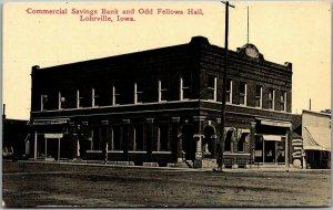 1910s Lohrville, Iowa Postcard COMMERCIAL SAVINGS BANK & Odd Fellows Hall View
