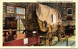 Interior of Lincoln Museum Postcard New Salem State Park Illinois Linen