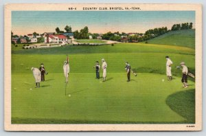 Bristol Virginia-Tennessee~Country Club~Men Play Golf~Caddies Carry Clubs~1940s