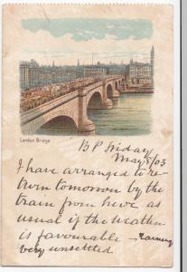 London; London Bridge Intermediate Size PPC To Miss Charlesworth, H Burton, 1903