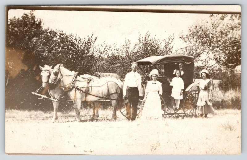 Real Photo Postcard~Victorian Family of Four Outside Horse Drawn Carriage~c1908