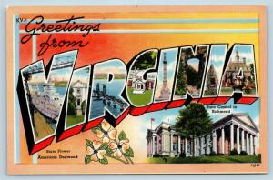 Postcard VA Large Letter Greetings From Virginia Vintage P9
