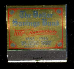 DOLLAR SAVINGS BANK 1955 Full Unstruck Feature Matchbook