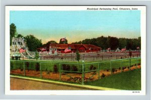Ottumwa IA, Municipal Swimming Pool, Linen Iowa Postcard