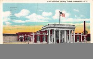 Greensboro North Carolina Southern Railway Station Antique Postcard J38781