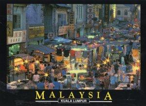 Kuala Lumpar Malaysia Night Market Rare Postcard