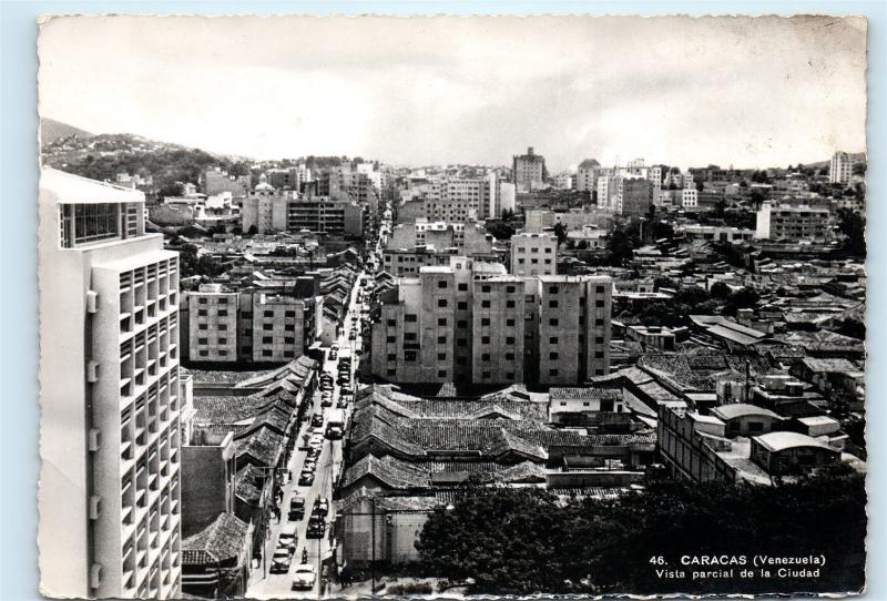 City View Caracas Venezuela Vista Parcial Ciudad Vintage Real Photo Postcard C12