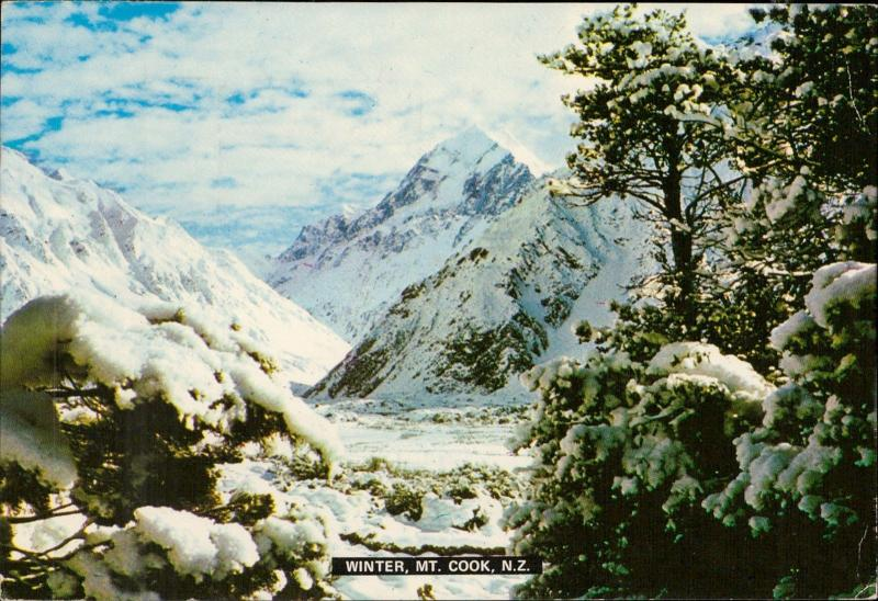 winter mount cook southern alps new zealand postcard