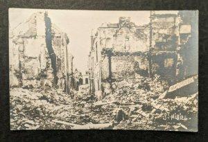 Mint Vintage WWI City Ruins St Mihiel Real Photo Postcard RPPC