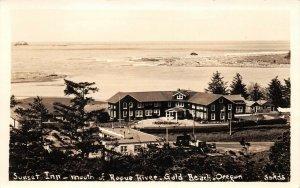 LPS05 Gold Beach Oregon Sunset Inn Aerial View Rogue River Postcard RPPC