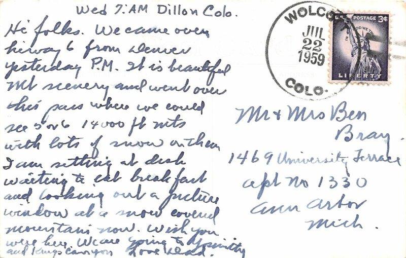 G23/ Dillon Colorado RPPC Postcard 1959 Loveland Pass Continental Divide