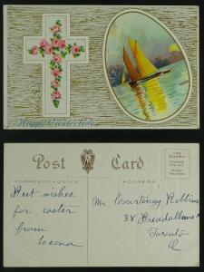 Cross with roses and sailboat vignette c 1910