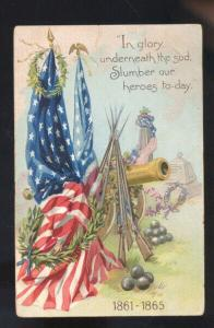 VINTAGE EMBOSSED PATRIOTIC POSTCARD CIVIL WAR VETERANS GLENNONVILLE MISSOURI
