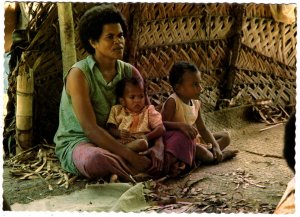Suva, Fiji - A Fijian Mother and Child - Continental Size Postcard
