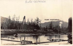 SCOTIA, CALIFORNIA DUMPING LOGS AT MILL A RPPC REAL PHOTO POSTCARD